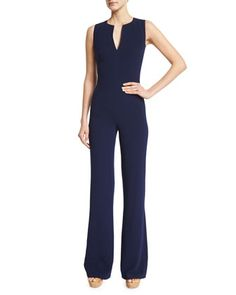 Isadore+Sleeveless+Double-Face+Wool+Jumpsuit,+Dark+Navy+by+Ralph+Lauren+at+Neiman+Marcus.