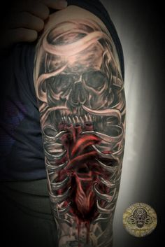 Heart Skull Armsleeve prog.13 by 2Face-Tattoo.deviantart.com