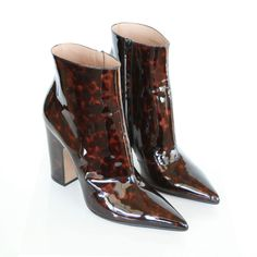 MAISON MARTIN MARGIELA patent leather tortoise shell pointed toe boots 38 NEW #MaisonMartinMargiela #Fashion #margiela #tortoiseshell #pointedtoe #highheelboots