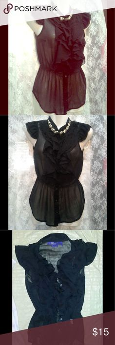 c-through frilly black blouse Elegant & Feminine. Sophisticated Sexy. Button up blouse, in black. Miley Cyrus & Max Azria Tops Blouses