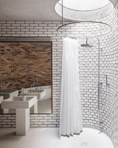 "A Designer's Mind on Instagram: ""Love this! The circular skylight!! The industrial vibe from the bricks!!! #bathroominspiration Project by: Broekx-Schiepers Architecten…"""