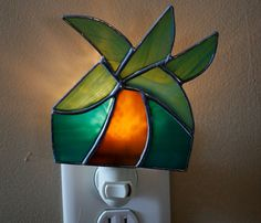 Stained Glass Palm Tree Night Light   $25.00 Stained Glass Night Lights, Stained Glass Panels, Night Lite, Nightlights, Unique Lighting, Main Colors, Fused Glass, Light Bulb, Palm