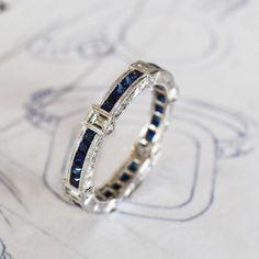 Want in emerald & diamonds. Sapphire Eternity Ring J Albrecht Designs Sapphire Eternity Ring, Eternity Bands, Jewelry Rings, Jewelery, Jewelry Accessories, Anniversary Bands, Ring Verlobung, Luxury Jewelry, Stylish Jewelry