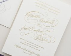 Gold and Eggplant Wedding Invitation Suite Sample - Letterpress Wedding Invitation - Gold Foil Wedding Invitation - Calligraphy Invitation