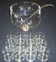 punch bowl, 12 crystal cups and heavy plastic ladel, in Princess House ...