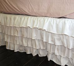 White Ruffle Bed Skirt Queen or King by PaulaAndErika on Etsy White Ruffle Bedding, Ruffle Bed Skirts, Crib Skirts, Linen Bedding, Bed Linens, Best Bedding Sets, Luxury Bedding Sets, Hotel Collection Bedding, Bed Styling