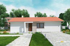 Nízkorozpočtový projekt domu bungalov na úzke pozemky Exterior, Planer, Garage Doors, Outdoor Decor, House, Home Decor, Houses, Type 1, Home Plans