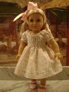 Custom Couture Garden Party Dress and Necklace for American Girl or Similar 18 Inch Dolls. $34.99, via Etsy.