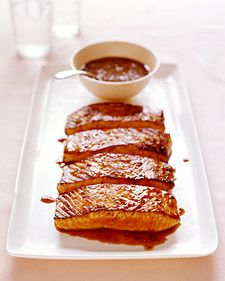 Salmon brushed with honey/coriander glaze. 11/2 tsp toasted coriander, 1/4 c honey, 5 Tbsp soy, 2tsp lemon.  Brush on salmon and bake in foil - 400 for 15 to 20 mins.  Lightly cook reserved glaze to thicken and serve with fish.