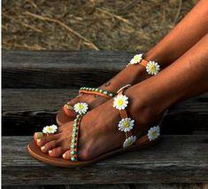 Large Size Women Summer Hippie Chic Sandals Holiday Sandals Bohemian S – galonfleek Hippie Chic, Bohemian Style, Boho Chic, Leather Sandals Flat, Flat Sandals, Brown Sandals, Gladiator Sandals, Pearl Sandals, Flat Shoes