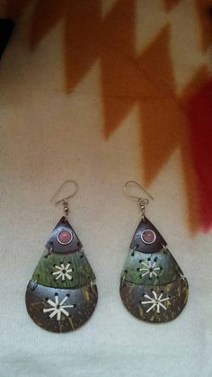 Coconut Shell Earrings Ethnic Thread Fabric by TheUnlikelyBandit
