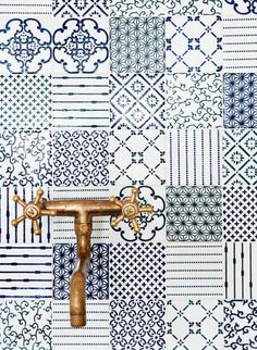 Patchwork tiling Handmade tiles can be colour coordianated and customized re. shape, texture, pattern, etc. by ceramic design studios