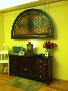 Old Stained Glass Window   What a nice way to repurpose an old window!! Make it an object of ART ;)  Love it!