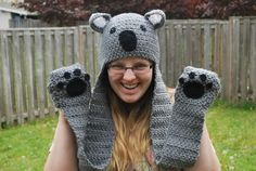 This makes me happy! Custom animal hat with paw mittens :) :)