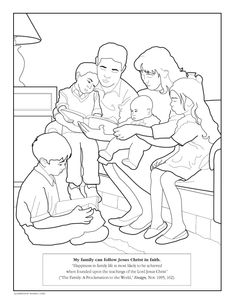 An Illustration Of A Father Sitting On Couch With His Family Reading From The Scriptures Son Lap Night Coloring Page