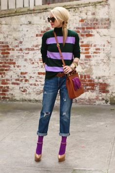 I'm actually loving the short jeans with colorful tights!