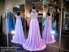 Lavender Collared Chiffon Prom Dress