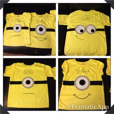 Minion diy shirt idea. Cut felt Into eyes and goggles shapes and glue with fabric glue! No ironing required.  *I used these as party favors for each child.
