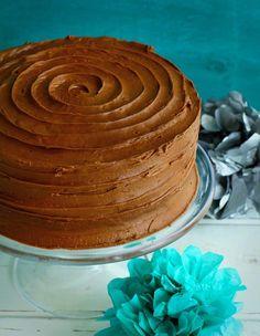Rich #Chocolate Buttercream on White Cake~ Perfect Birthday #cake!