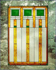 Arts and Crafts Prairie Squares Green Art Glass Panel MGV004