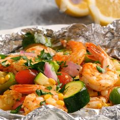 Shrimp and Summer Veggie Foil Packs : Nutritious, hearty, flavorful and fresh! The perfect summer dinner! Brimming with tender shrimp and a variety of healthy vegetables. Cook them on the grill or in the oven. Grilling Recipes, Fish Recipes, Seafood Recipes, Cooking Recipes, Healthy Recipes, Cooking Foil, Kabob Recipes, Cooking Bacon, Cooking On The Grill