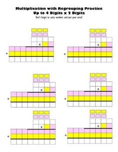 Multiply Up to 4 Digits x 2 Digits Blank WorksheetsThese awesome two worksheets gives students a graphic organizer to help them successfully complete multiplication problems with up to 4 digits (on top) x 2 digits (on the bottom)Students may use to complete homework.