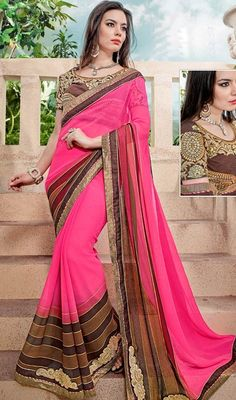 Take the vogue fad to a whole new level adorned in this pink color faux georgette embroidered sari. The stunning lace, patch and resham work a intensive characteristic of this attire. Upon request we can make round front/back neck and short 6 inches sleeves regular saree blouse also. #DeliciousPinkReshamWorkSari