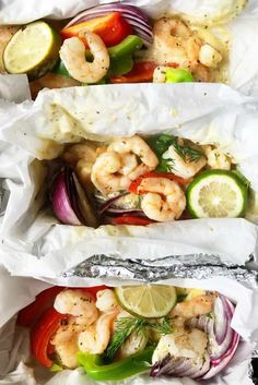 New from Reluctant Entertainer: Shrimp Scampi Foil Pack Dinner Fish Recipes, Seafood Recipes, Mexican Food Recipes, Dinner Recipes, Healthy Recipes, Dinner Ideas, Keto Recipes, Foil Pack Dinners, Foil Packet Meals