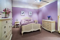 A bedroom fit for a king in our showroom.