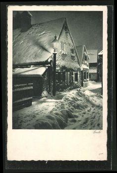 Winter in the Au (Herbergsviertel), postcard around 1930