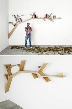 Love the concept! Bookshelf/ tree branch, setting books at odd angles in little groups.