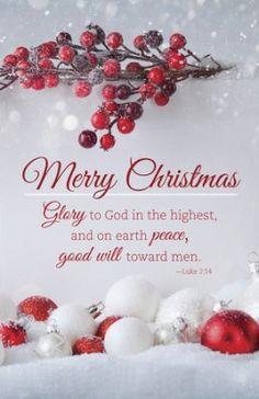 Merry Christmas - Glory to God (Luke 2:14, KJV) Christmas Bulletins, 100  -