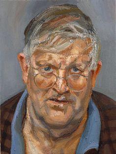 Imperfect brush strokes, grey tones Lucian Freud ~ David Hockney, 2002