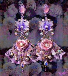 Ruffly Purple Orchid and Rose Tea Party Princess Earrings, Lavender Lace Earrings, Pink and Purple Sparkly Crystal Costume Jewelry Lace Earrings, Chandelier Earrings, Flower Earrings, Dangle Earrings, Princess Tea Party, Purple Orchids, Rose Tea, All Things Purple, Pink Tourmaline
