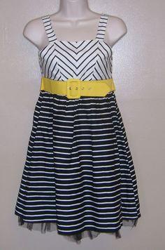 Disorderly Kids Girls Beautiful Black and White Party Dress Yellow Belt Size 12 #DisorderlyKids #DressyEverydayHolidayPageant