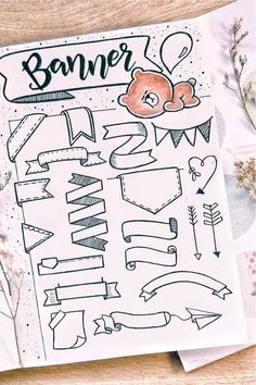 Check out these super cute bullet journal bbanner doodle ideas for inspiration! Bullet Journal Paper, Bullet Journal Lettering Ideas, Journal Fonts, Bullet Journal Notebook, Bullet Journal School, Bullet Journal Ideas Pages, Bullet Journal Inspiration, Book Journal, Bullet Journal Aesthetic