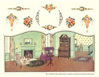Backgrounds for Paper Dolls, 1927-47.... Interesting, never saw something like that, made for paper dolls specifically.