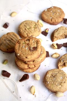 Buttery chocolate chip cookies with pistachios!