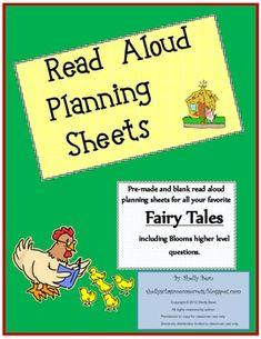 Read Aloud Plan Sheets, Fairy Tales (Bloom's higher level