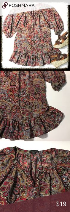 Forever 21 Peasant Tunic / Mini Dress Gorgeous peasant style Blouse with multi colored paisley print. Blouson sleeves, Ruffled hem.  96% polyester 4% spandex.  Armpit to armpit measures 21 inches across. Length measures 32 inches. Could be a mini dress depending on your height. Forever 21 Tops Blouses