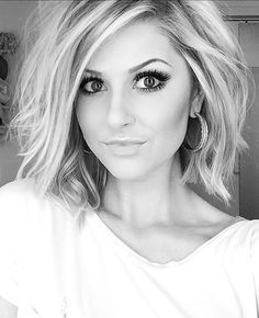 Asymmetrical Bob Hairstyles - Bob With Beachy Waves, love her makeup too!