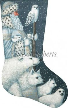 Arctic Santa stocking painted canvas by Susan Roberts, Artwork by Liz Goodrick Dillon Size: x Mesh Count: 18 Cross Stitch Christmas Stockings, Cross Stitch Stocking, Xmas Cross Stitch, Xmas Stockings, Christmas Cross, Cross Stitching, Cross Stitch Embroidery, Blue Christmas, Santa Christmas
