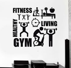 Wall Decal Healthy Lifestyle Sport Motivation Fitness Gym Vinyl Stickers (i2630) #Wallstickers4you