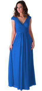 Blue Long Chiffon Draping V-neck Size:lrg Dress