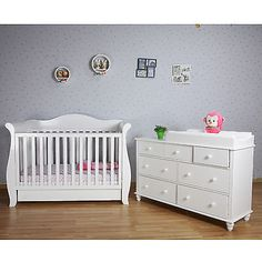 White New Zealand Pine 3 In 1 Baby Sleigh Cot Bed 7 Drawers