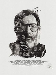 """""""Always make your work be personal. And, you never have to lie."""" –Francis Ford Coppola creates movies that are an unsparing reflection of society at its time, precise, patient and with (an incredible) love for detail. This portrait illustrates the idealistic legend enlaced with references from his work within the history of cinematography. Developed in close collaboration with Julian Rentzsch, it's the skillfully set typography, an extraordinarily beautiful cotton paper stock and Julians…"""