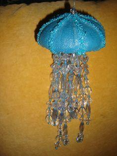 "lg new 10"" BEADED TENTACLES JELLYFISH JELLY FISH BLUE BEACH CHRISTMAS ORNAMENT"