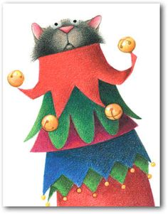 Linnea Riley Boxed Cat Christmas Cards HOLIDAY JESTER