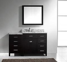 "57"" Virtu Caroline Parkway MS-2157R-ES bathroom vanity #BathroomRemodel #BlondyBathHome #BathroomVanity  #ModernVanity"