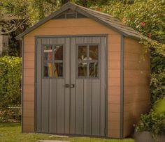 The Newton 757 Shed from Keter is built from a technologically advanced composite that feels like real timber but has the long lasting weatherproof and maintenance free qualities of plastic. Shed Panels, Resin Sheds, Tongue And Groove Panelling, Plastic Sheds, Double Entry Doors, Tool Sheds, Shed Design, Outdoor Sheds, Skylight